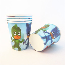 10pcs Cartoon PJ mask Theme Paper Cups Disposable Tableware Wedding Birthday Decorations Baby Shower For Kids Girls Boys