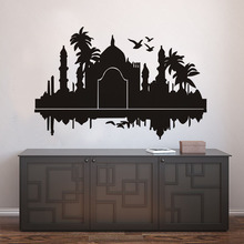 DCTOP Taj Mahal India Wall Stickers Palms Birds Vinyl Art Home Decoration Adhesive Muursticker Living Room Modern Accessories