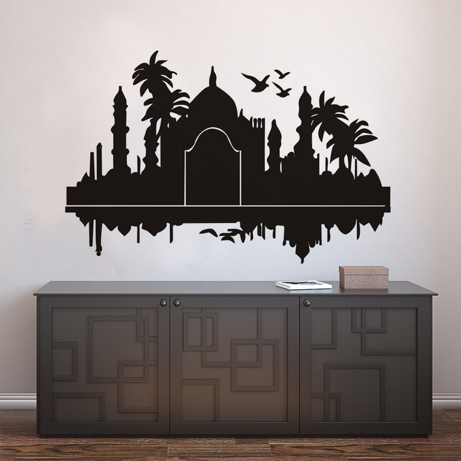 DCTOP Taj Mahal India Wall Stickers Palms Birds Vinyl Art Home Decoration Adhesive Muursticker Living Room Modern Accessories(China (Mainland))