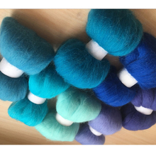 wool needle felting poke fun DIY roving felt 100% merino wool fiber blue color 10g/7pcs/lot(China)
