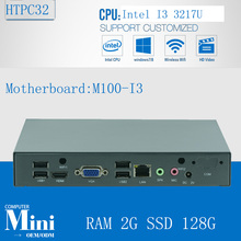 Factory ! Core i3 3217u support Ubuntu Linux MINI pc fanless htpc media player thin mini itx 2G RAM 128G SSD(China)
