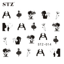 STZ 1Sheets NEW Dandelion White/Black Beauty Girl Nail Art Water Transfer Sticker Decals DIY Tips STZ014