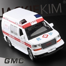 High Simulation Exquisite Diecasts&Toy Vehicles: Good Car Styling GMC Truck Chinese Ambulance 1:32 Alloy Diecast MPV Model