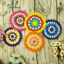 DIY Multicolor 11cm Coaster Handmade Crochet Doilies Table Decor Cup Pad Props Placemat Clothes Accessories 30pcs/lot