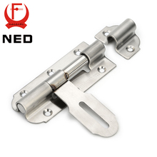 NED-5111 304 Stainless Steel Door Bolt Security Guard Lever Action Flush Latch 4 inch Slide Bolt Lock For Furniture Hardware(China)