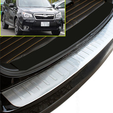 FIT FOR 2014 - 2016 SUBARU FORESTER S4 REAR BUMPER PROTECTOR CARGO TRUNK LIP TRIM HATCH STEP PANEL DECK COVER SILL PLATE STEEL