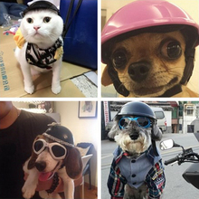 Handsome Biker hat Pets Helmets Ridding Cap ABS Doggie Puppy Motorcycle Protect for Sports Dog cat Costumes Accessories cool 35(China)