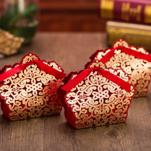 (25 pieces/lot) Wedding Decoration Chocolate Box Red And Gold Color Candy Box Laser Cutting Gift Box For Wedding Favors B057G(China)