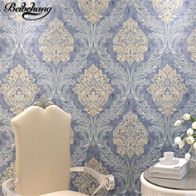 beibehang European luxury non - woven wallpaper 3D stereo relief Damascus wallpaper bedroom living room background wall paper<br>