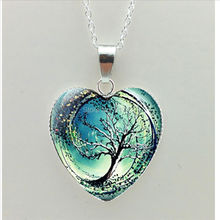 2016 New Divergent Heart Necklace Divergent Tree Pendant Jewelry Women Heart Necklace Art Glass Necklace HZ3