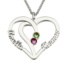 Wholesale Personalized Sterling Silver Heart Necklace Birthstone Name Necklace Double Heart Pendant  Couples Name Necklace