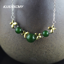 KJJEAXCMY Fashion Pendant S925 sterling silver jewelry gold heart-shaped lady Turquoise Necklace New Listing(China)
