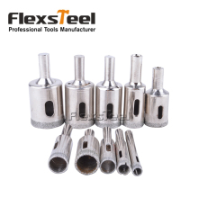 Flexsteel Diamond Coated Glass Core Hole Drill Bits Set for Glass Tile Marble Concrete Ceramic 10 Pieces 6-30MM(China)