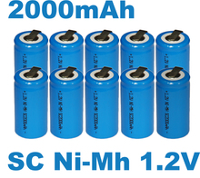 20PCS UNITEK Sub C sc 1.2V rechargeable battery 2000mah ni-mh nimh cell with tab for power tools,vacuum cleaner