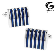iGame 1 Pair Retail Men's Cuff Links 4 Colors Option Blue Red Black Pink Brass Fashion Stripes Business Design Free Shipping(China)