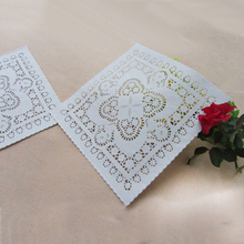 10inch/25cm 200pcs Square white lace paper mat doilies for cake pastry Absorb oil paper party tableware decoration placemat(China)