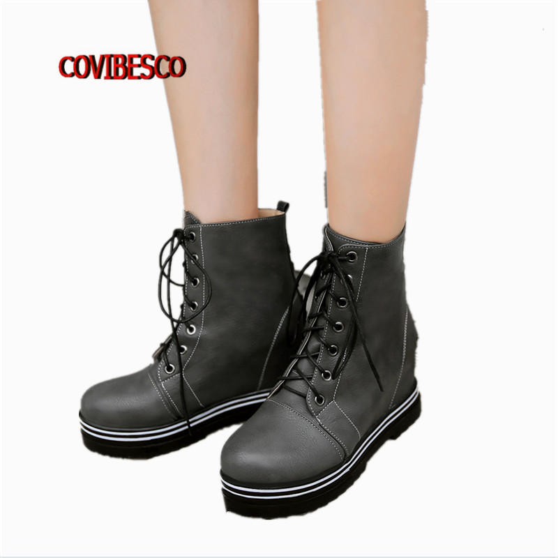 Black White Gray women fashion sexy wedges high heels martin shoes ladies lace up platforms ankle boots for female short boots<br><br>Aliexpress