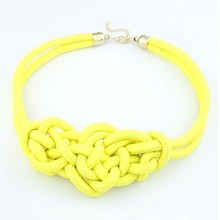 F&U China-knot necklaces & pendants costume items neon chunky choker statement necklace women jewelry