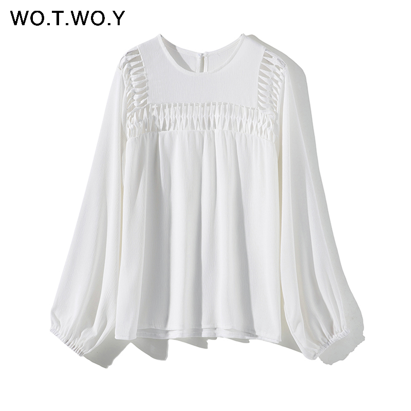 White Hollow Out  Blouses Womens 2019 New Spring  Long Sleeve Shirts Casual Streatwear Womens Tops and Blouses Harajuku