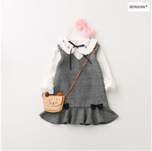 70910938 2017 New Autunm Fashion Baby Girls Dresses Ruffles Bow Sleeveless Girl Clothes Children's Clothing Supplier Lots(China)