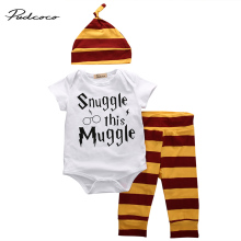Brand Baby Cotton Clothing Set Baby Boys Girls Letter Muggle Romper Tshirt+Stripe Pants+Hat 3PCS Bebes Outfits Clothes 0-18M