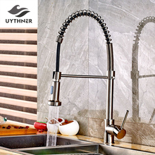 Uythner Brushed Nickle Spring Kitchen Faucet Mixer Tap Single Handle Single Hole with White & Black Hose Factory Direct Sales(China)