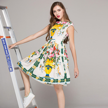 Brief Ladies Vintage Dresses Autumn 2017 Vase Print Sleeveless Topshop Tank Casual Slim Fashion Knee-Length Pleated Dress