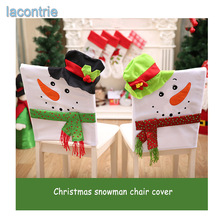 2017 Real Festas Hot Sale Fashion Christmas Decorations Snowman Chair Cover Set Table Decoration Cute Gift Free Shipping(China)