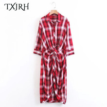 TXJRH Fashion Red Plaid Contrast Color On Front Kink Slim Blouse Dress Turn-down Collar Woman Half Sleeve Irregular Hem Vestidos(China)