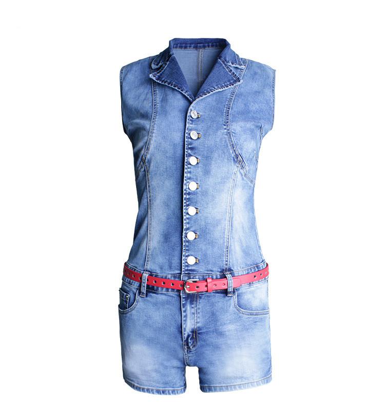 Single Breasted Women Playsuit Romper Sexy Skinny Bodysuit Denim Jumpsuits Summer Sleeveless Fashion Ladies Jeans Body Feminino (3)