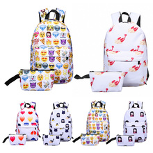 New 2Pcs Outdoor Fasion 3D Printing Nylon Backpack Smiling Face Cute Smile Print Backpack Travel School Sports Bag 5 Patterns