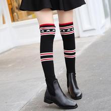 European famous brand woman sock boots ankle boots over the knee boot crystal sock bootas stripes star botas stretch fabric bota(China)