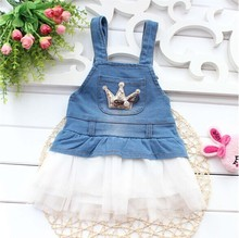 Super Promotions 2017 new summer style baby clothes soft cotton with crown baby denim dress for 1 2 3 years old  A299