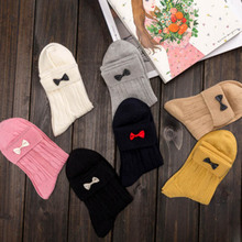 1 Pair Newly Women Lovely Comfortable Hand Sewn Fine Cotton Yarn Winter Warm Two-Color Bowknot Socks 7 colors