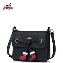 JUST STAR Women PU Leather Messenger Bags Ladies Christmas Socks Shoulder Purse Girl's Leisure Flap Small Crossbody Bags JZ4236