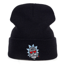 Rick Hats Smoking Elastic Brand Embroidery Rick and Morty Beanie Cap Warm Knitted Hat Winter Skullies Animation Ski Red Eyes(China)