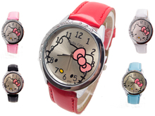 H124 Free Shipping Wholesale New leather wrist watch women children girl cartoon fashion hello kitty quartz watch(China)