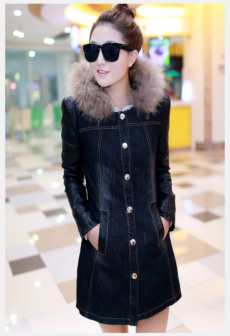 New arrival womens long sleeve denim coat cotton padded winter long coat fur collar jacket with cap ladys cotton coat A940Одежда и ак�е��уары<br><br><br>Aliexpress