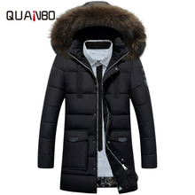 2017 New Arrival Brand Clothing Men's Thick Winter Duck Down Jacket High Quality Fur Collar Hooded Long Slim Parkas Khkai Coat