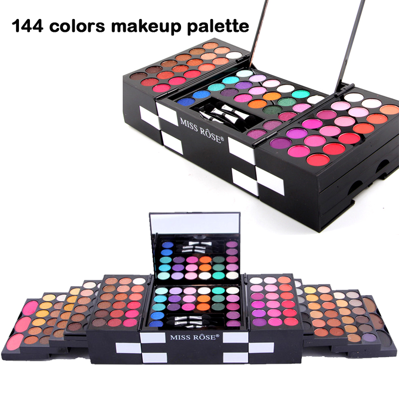 MISS ROSE Professional 144 Colors Eyeshadow Makeup Palette Set Waterproof Eye Shadow + Eyebrow Powder + Blush Palette Makeup Kit<br>