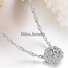 Fashion 2017 New Women Round Full White Crystal Necklace Ladies Silver Chain Necklaces Jewelry For Women Gifts(China)