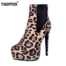 Women Round Toe Ankle Boots Suede Leather Woman Platform High Heel Botas Lady Brand Quality Autumn Winter Heels Shoes Size 34-47