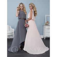 2017 Two-piece Bridesmaid Dresses featuring a hi-low chiffon skirt and a fun and flowy chiffon crop top 22761 Party Gowns