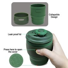 Portable Collapsible flexible Silicone Coffee Cup Foldable Water Bottles Eco-Friendly Leakproof Silicone Travel Mugs