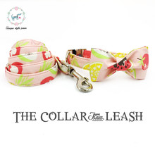 The pink fruits dog collar and lead set with bow tie  cotton  dog &cat necklace and dog leash  for pet supplies