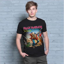 New Arrival Men`s T-shirt S-XXL t shirt Iron Maiden the trooper Rock Band black Tee shirt Men brand clothing 1703