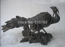Free shipping 001813 Chinese Absolute Pure Bronze Peacock mouth Diao Lucky flowers Animal Statue
