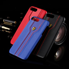 Luxury PU Leather Case For Samsung Galaxy S7 S7 Edge Phone Case Slim Hard PU Case Cover With Ferrari Logo