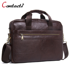 CONTACT'S Business Laptop Briefcase Handles Brands Messenger Bag Men Genuine Leather Bags Male Crossbody Bags Shoulder Bag
