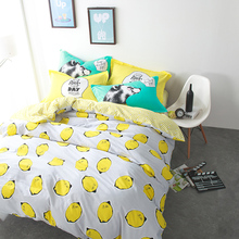 Yellow bedding sets lemon printed quilt cover bedsheet pillowcase 100% cotton bed set juegos de cama queen size double twin size(China)